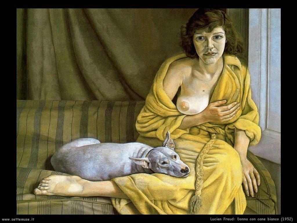 Lucian freud donna con cane bianco 1952