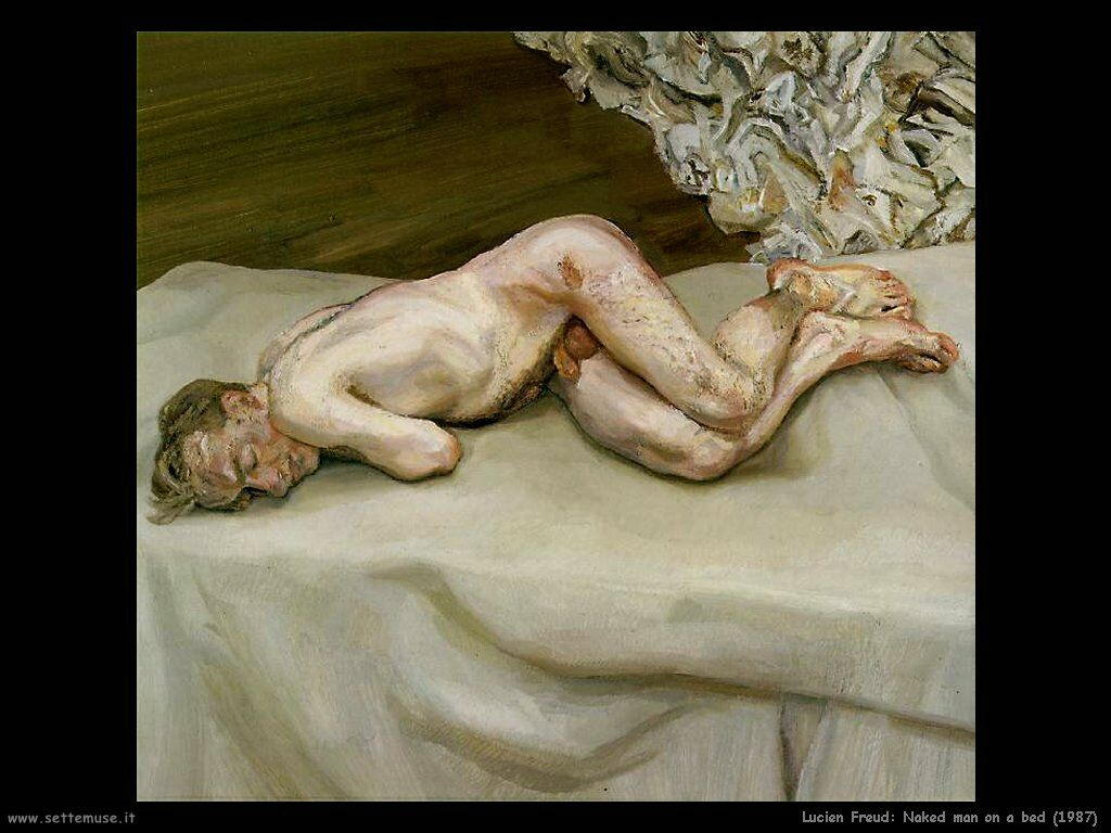 Lucian freud Uomo nudo su letto 1987