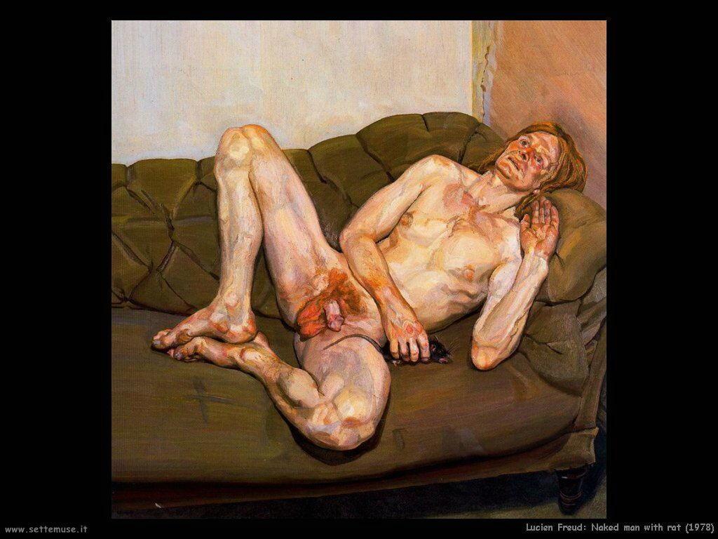 Lucian freud Uomo nudo con topo 1978