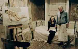 Lucian Freud al lavoro nel suo atelier