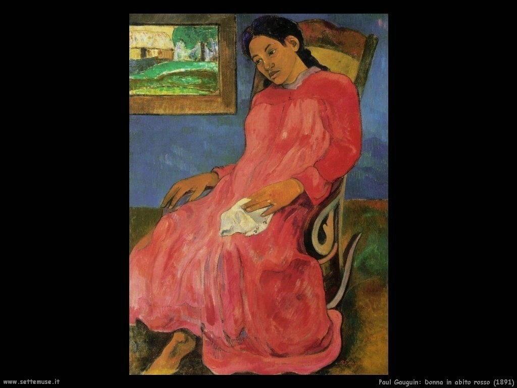 Paul Gauguin donna in abito rosso 1891