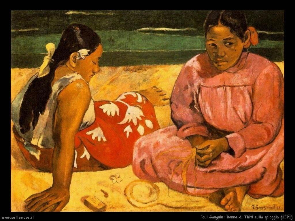 Paul Gauguin donne di tahiti sulla spiaggia 1891