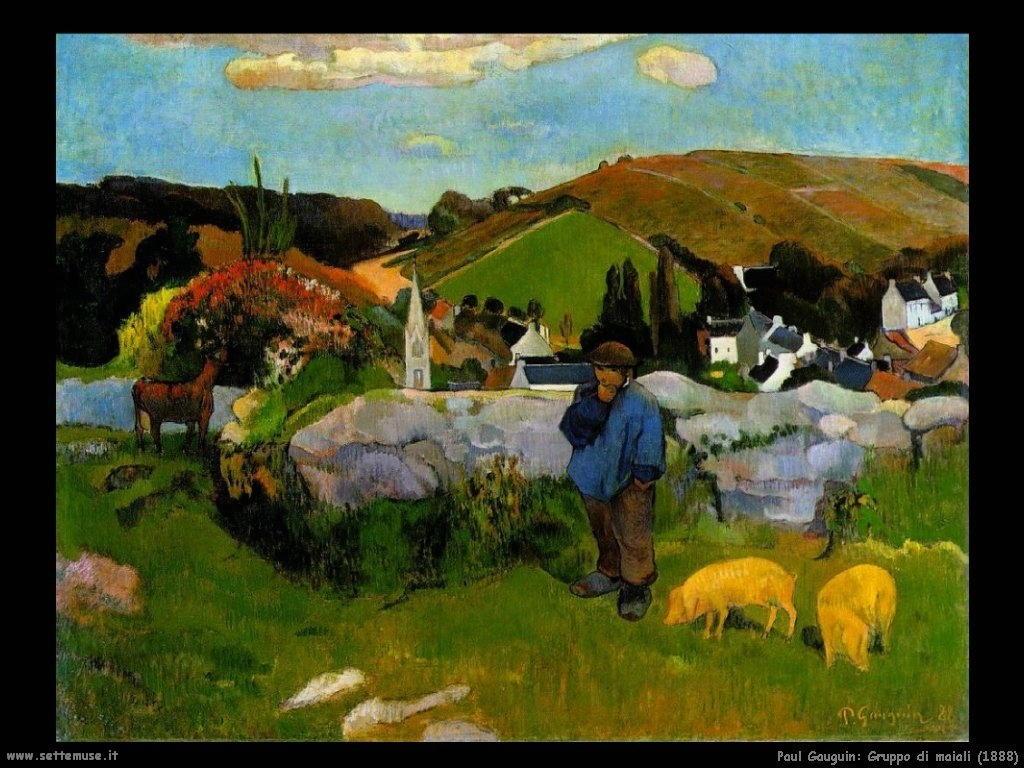 Paul Gauguin gruppo di maiali 1888