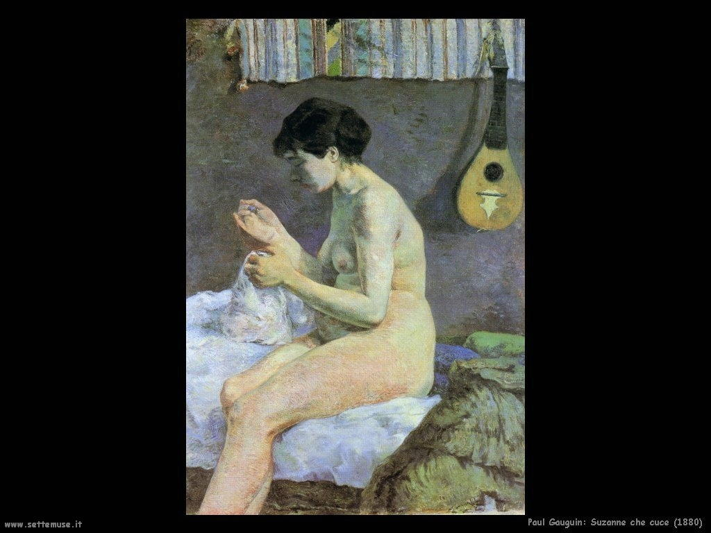 Paul Gauguin suzanne che cuce 1880