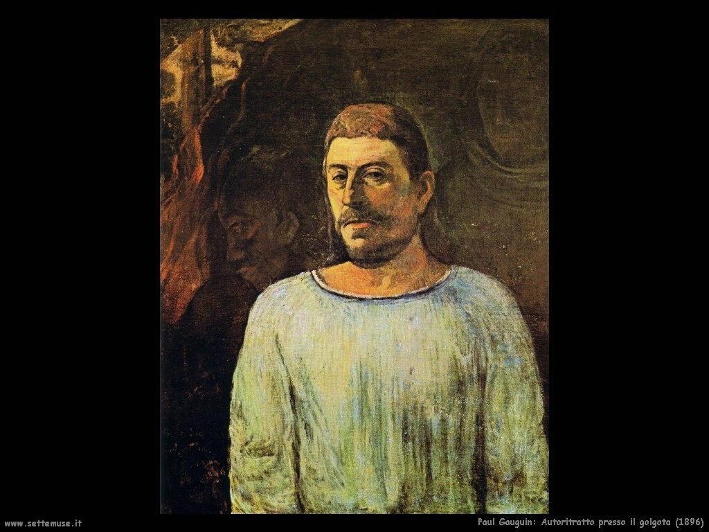 Paul Gauguin autoritratto presso il golgota 1896