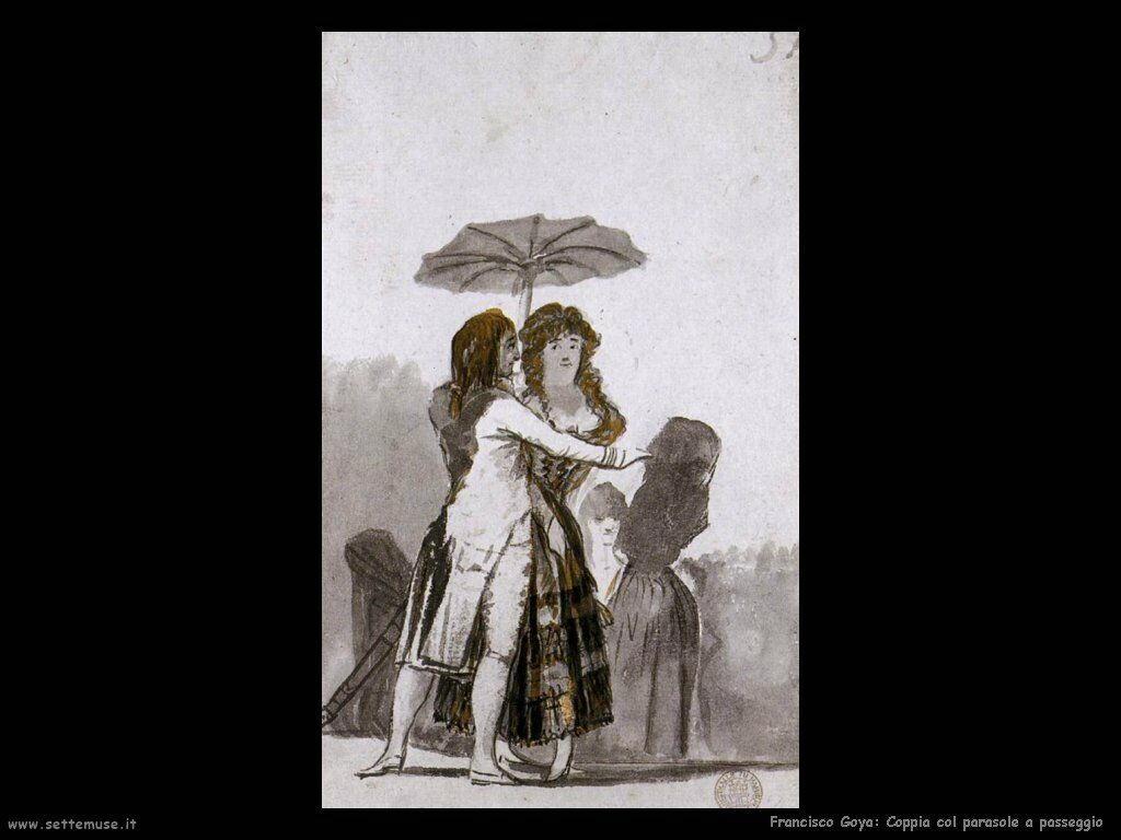 Francisco de Goya coppia con parasole a passeggio