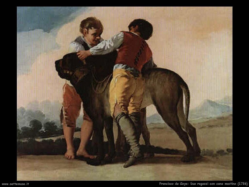 Francisco de Goya due ragazzi con mastino 1786