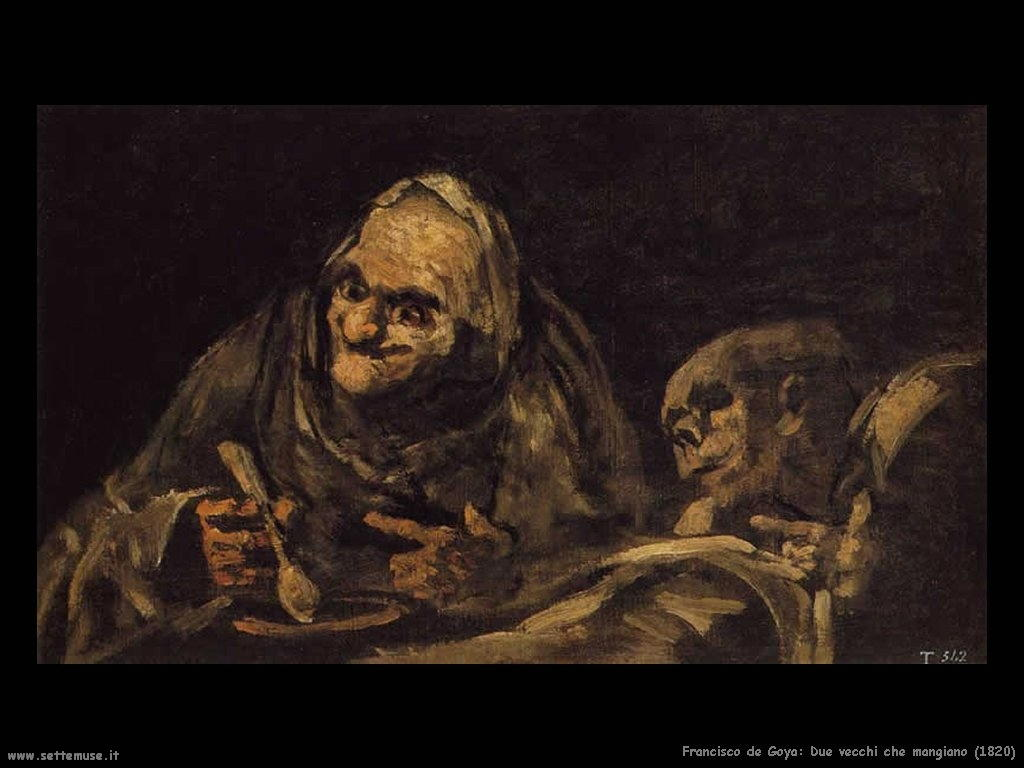 Francisco de Goya due vecchi che mangiano 1820