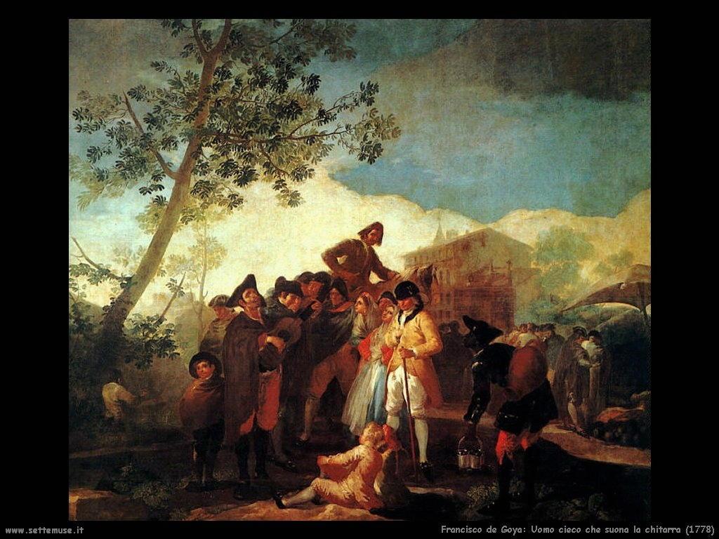 Francisco de Goya uomo cieco suona chitarra 1778