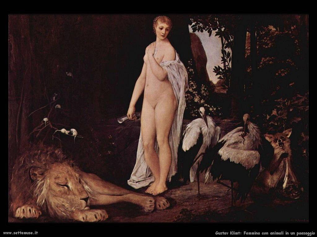 Klimt 1883_femmina_con_animali_in_paesaggio