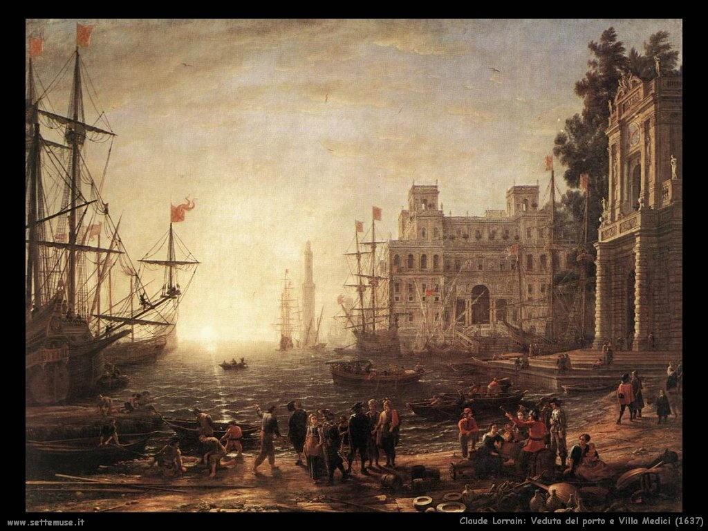 Claude Lorrain_porto_e_villa_medici_1637