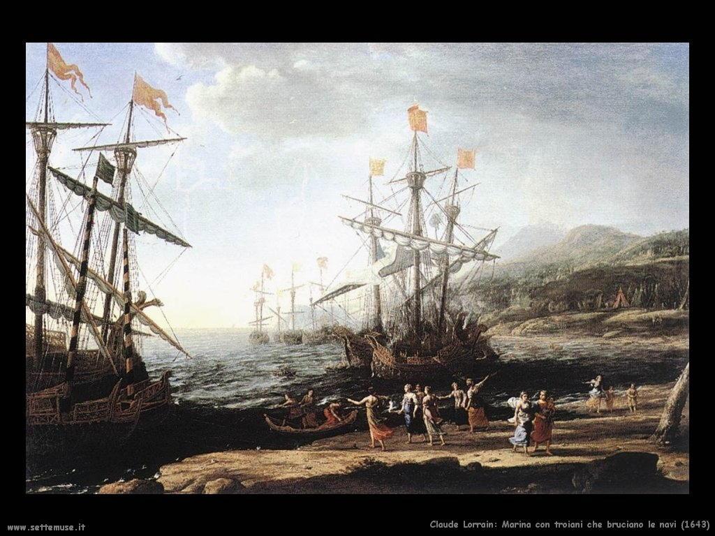 Claude Lorrain_marina_con_troiani_che_bruciano_le_navi_1643