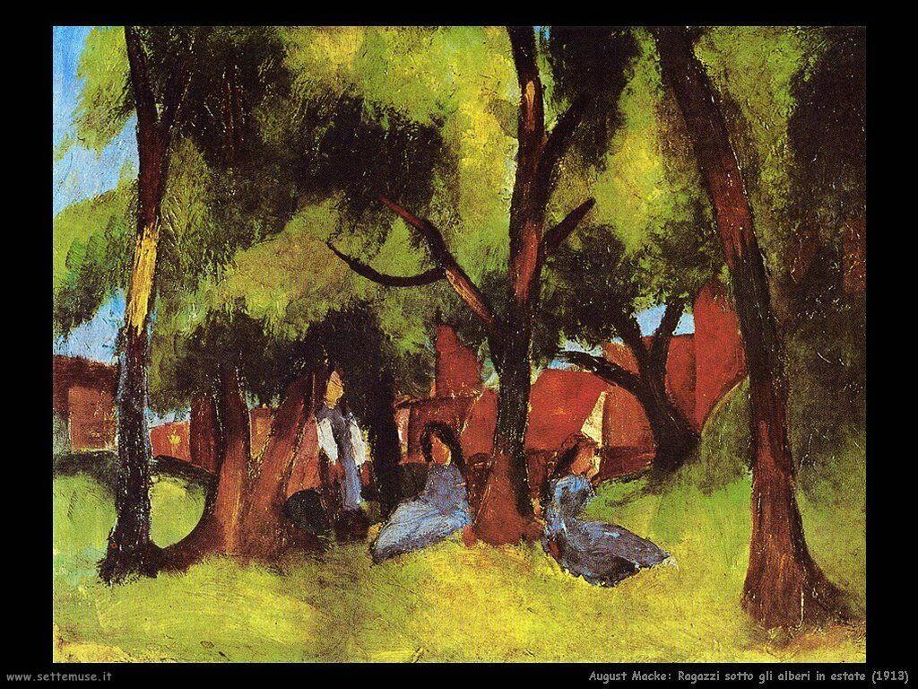 august_macke_ragazzi_sotto_alberi_in_estate_1913