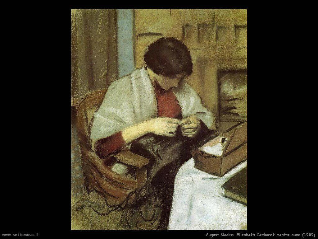 august_macke__elizabeth_gerhardt_mentre_cuce_1909