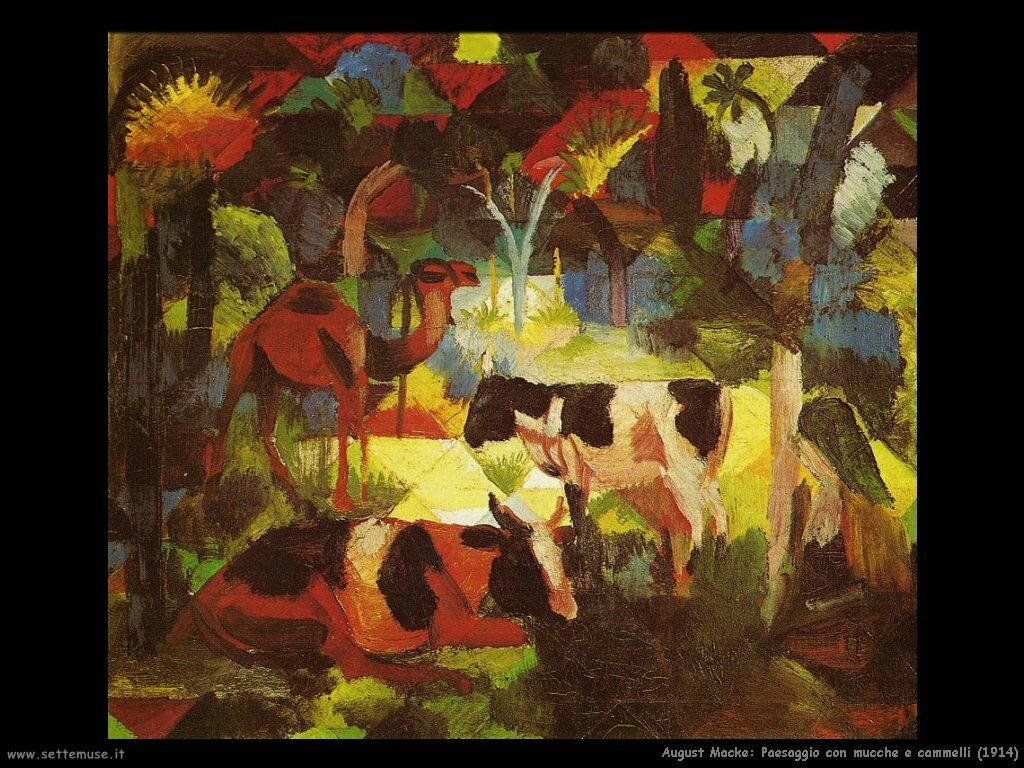 august_macke__paesaggio_con_mucche_e_cammelli_1914