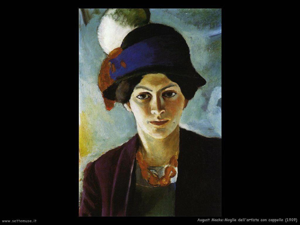 august_macke_moglie_dell_artista_con_cappello_1909