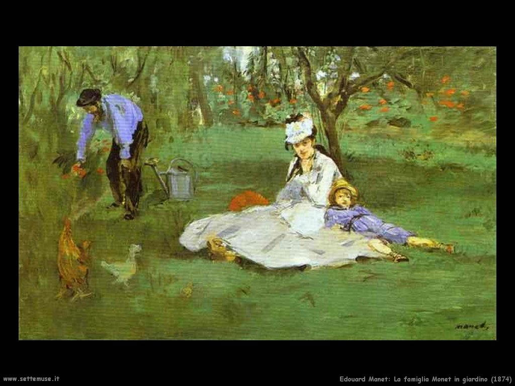 Edouard Manet _la_famiglia_monet_in_giardino_1874