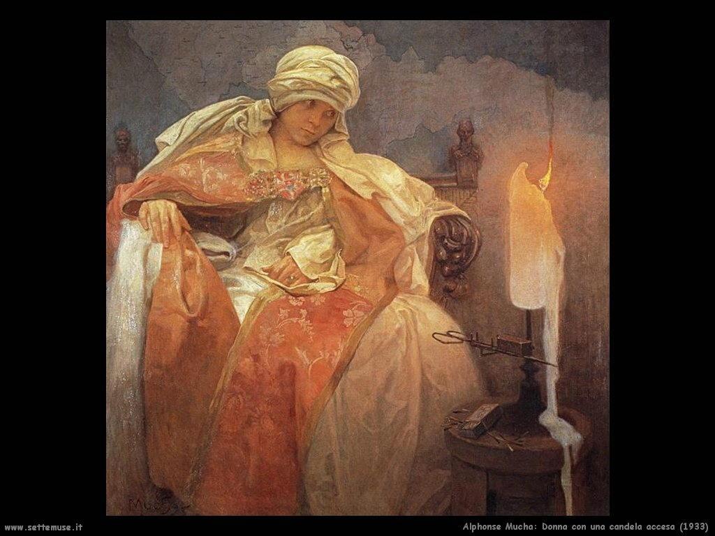 alphonse_mucha_donna_con_candela_accesa_1933