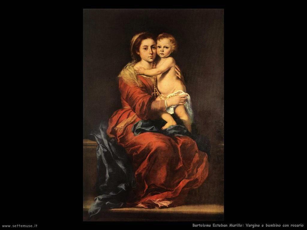 Murillo vergine e bambino con rosario