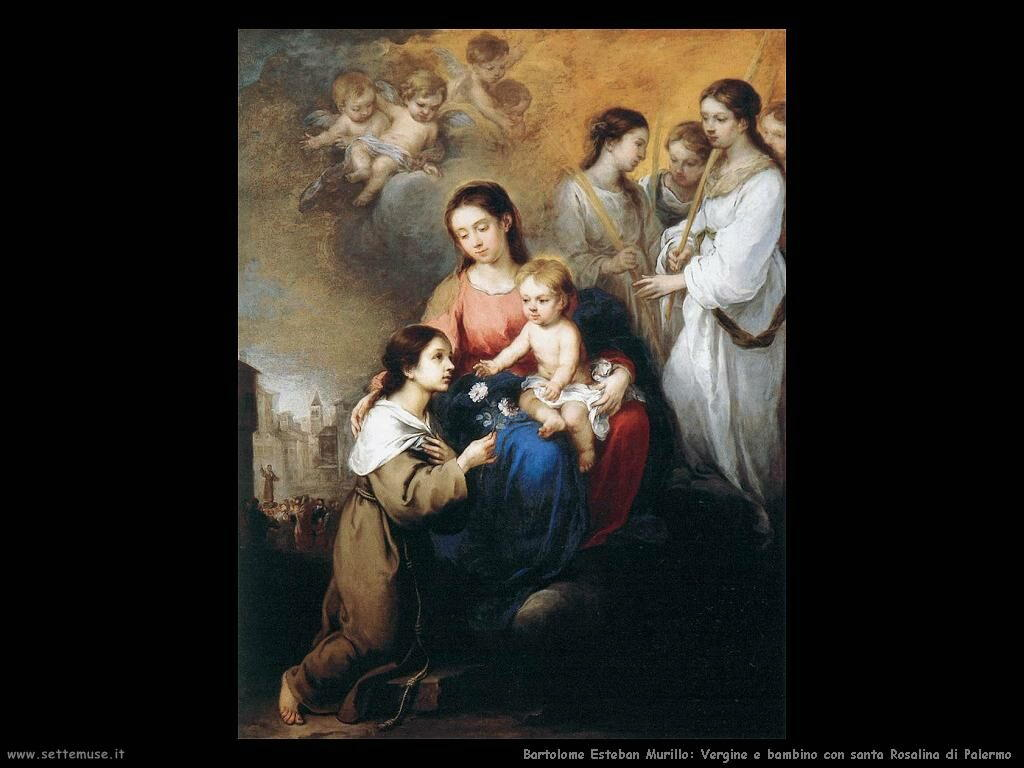 Murillo vergine e bambino con s rosalina di palermo