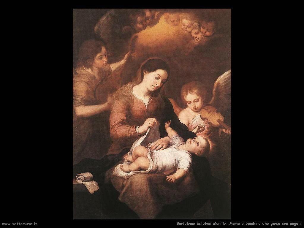 Murillo maria e bambino gioca con angeli