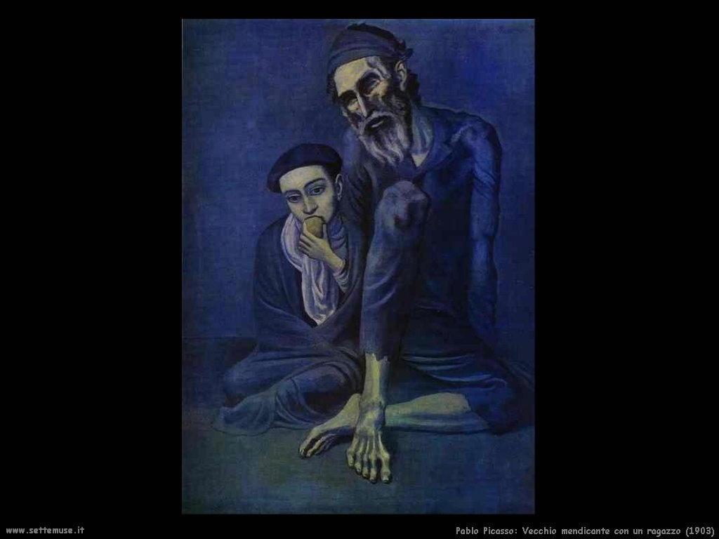 1903 vecchio mendicante con un ragazzo