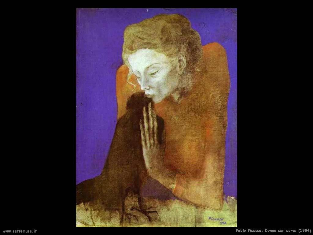 1904 donna con corvo