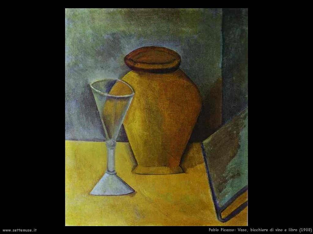 1908 vaso bicchiere di vino e libro