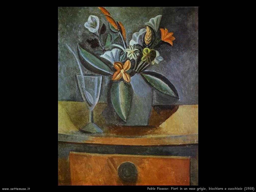 1908 fiori in vaso grigio bicchiere e cucchiaio