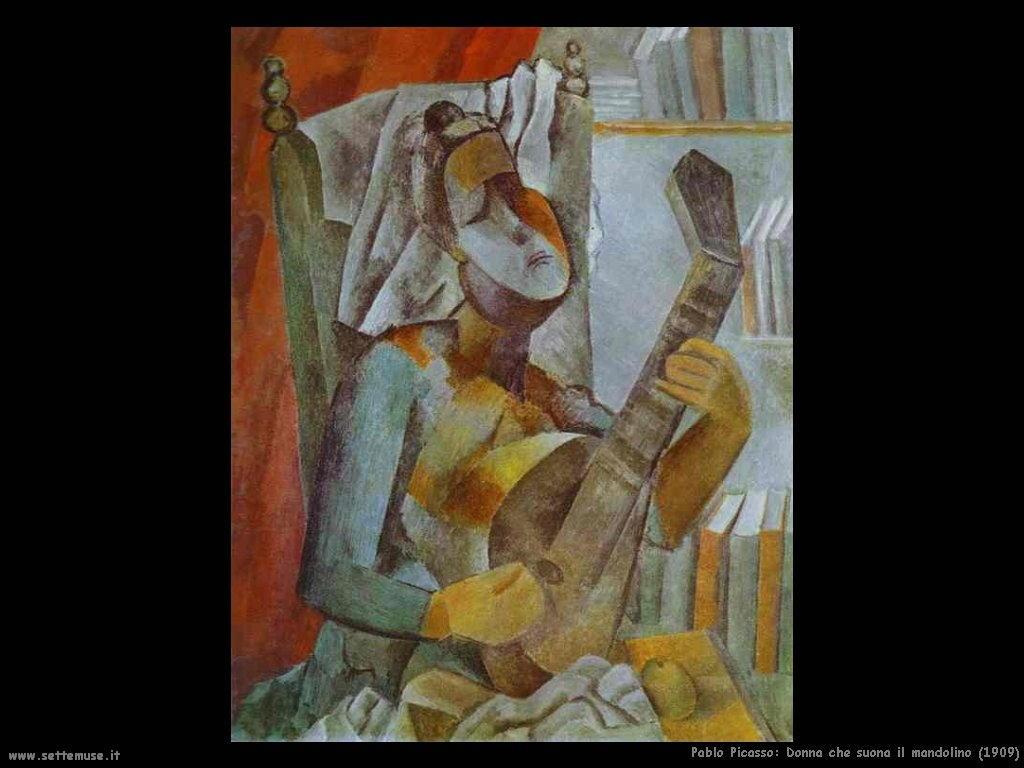 1909 donna che suona il mandolino