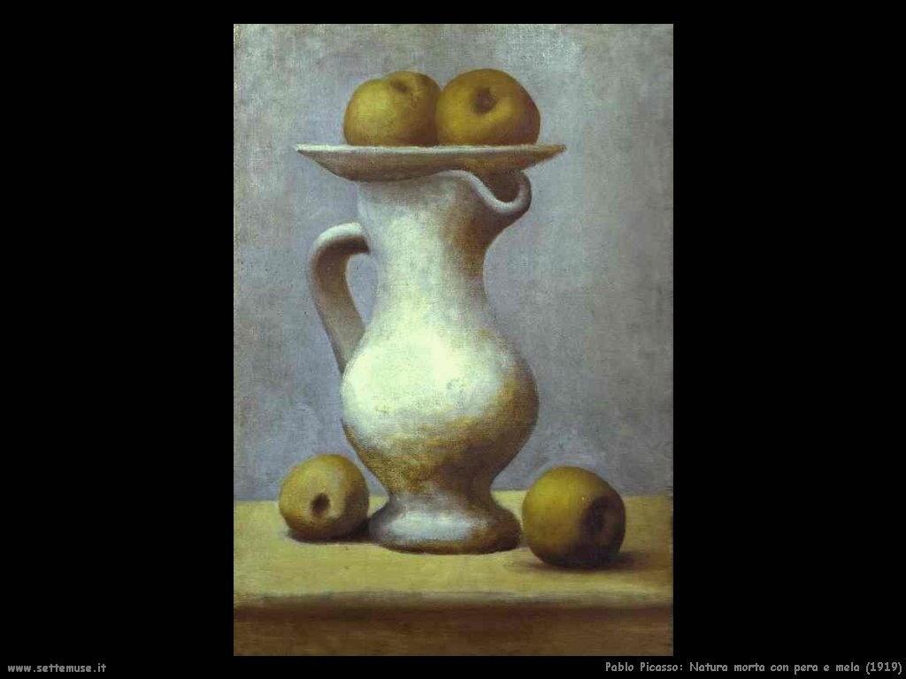 1919 natura morta con pera e mela