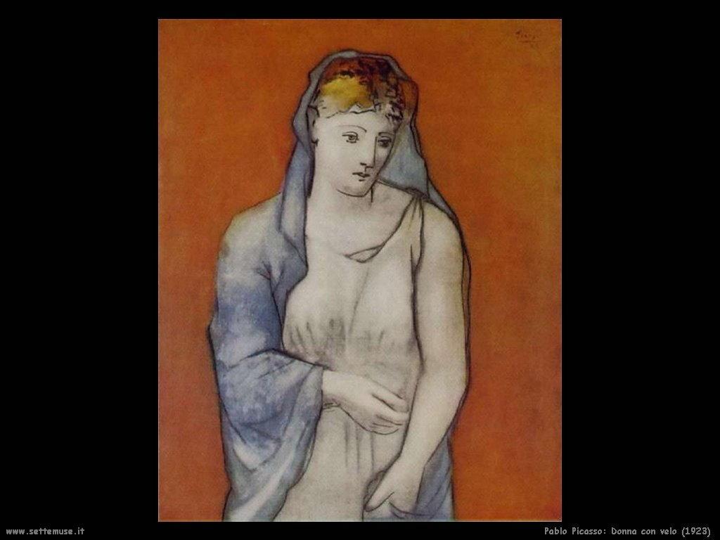 1923 donna con velo blu