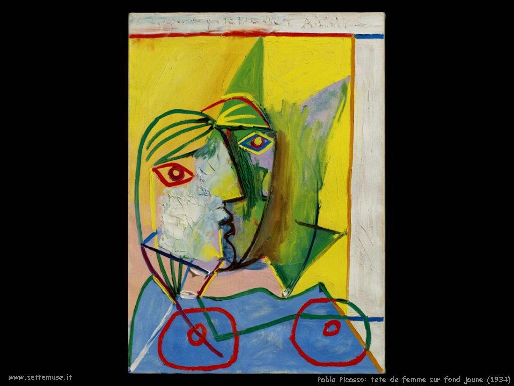 1934 pablo picasso tete de femme sur_fond jaune