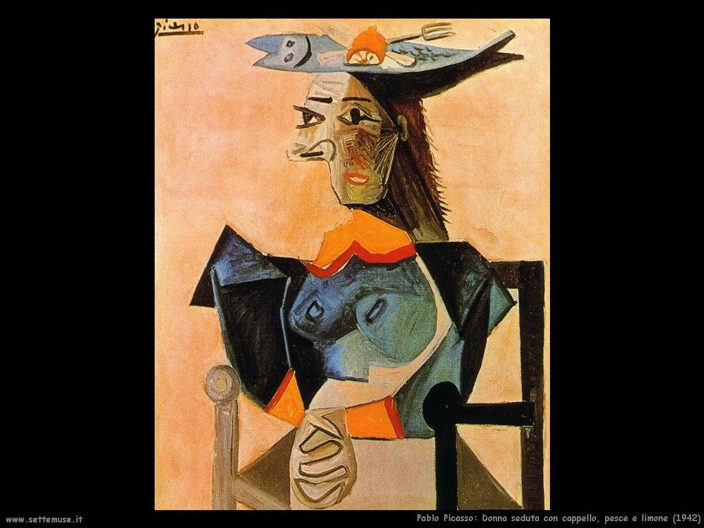 1942_pablo_picasso_donna_seduta_con_cappello_pesce_e_limone