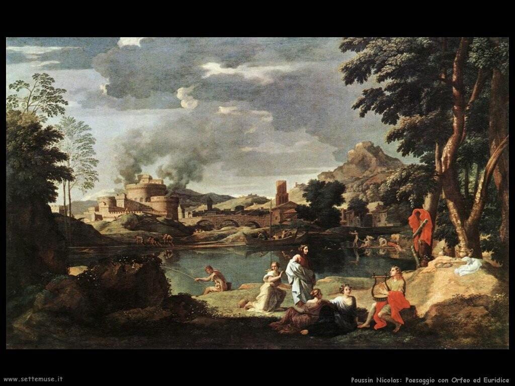 poussin nicolas Paesaggio con Orfeo ed Euridice