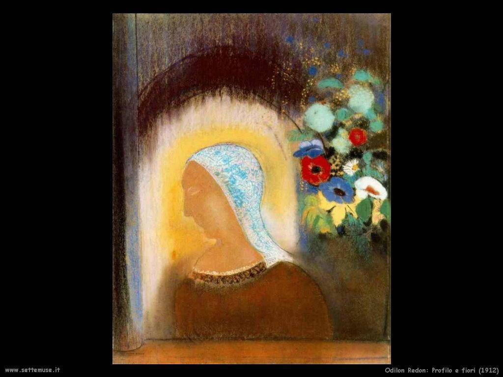 Odilon Redon profilo e fiori 1912