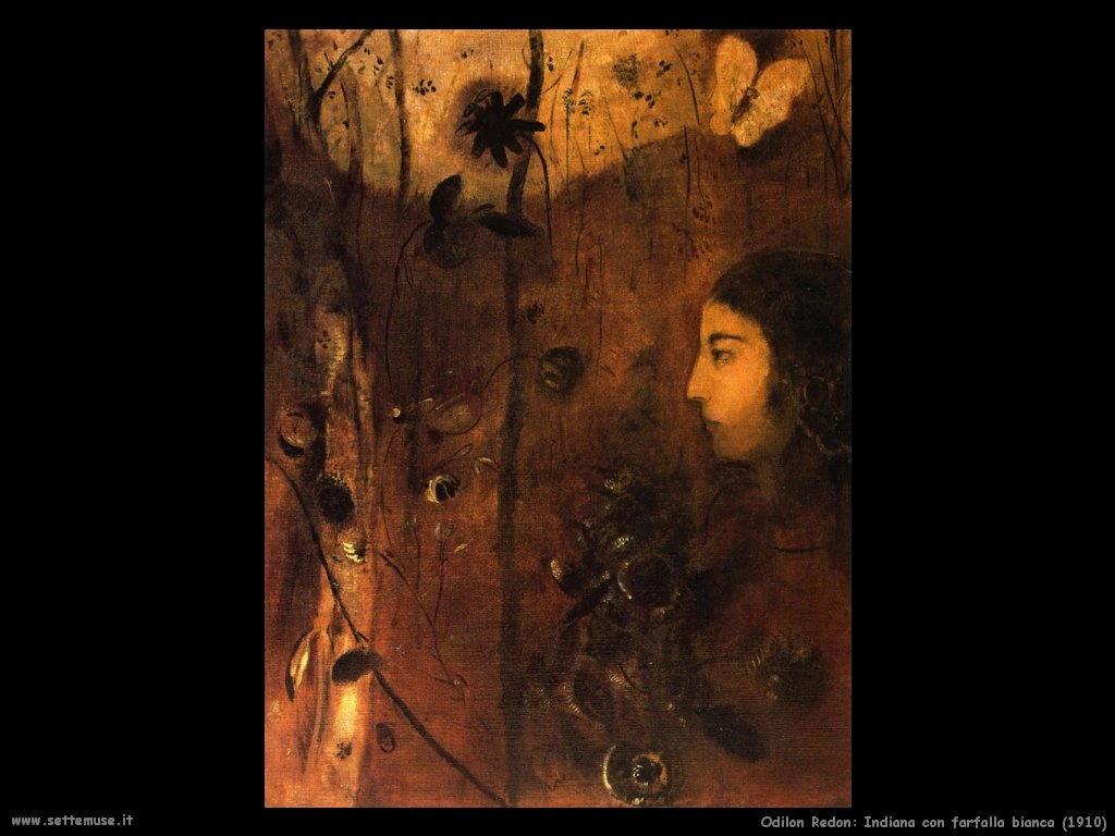 Odilon Redon_indiana_con_farfalla_bianca_1910