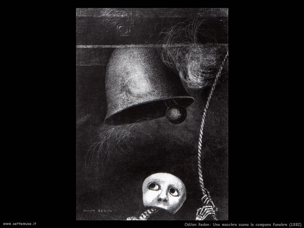 Odilon Redon_una_maschera_suona_campana_funebre_1882