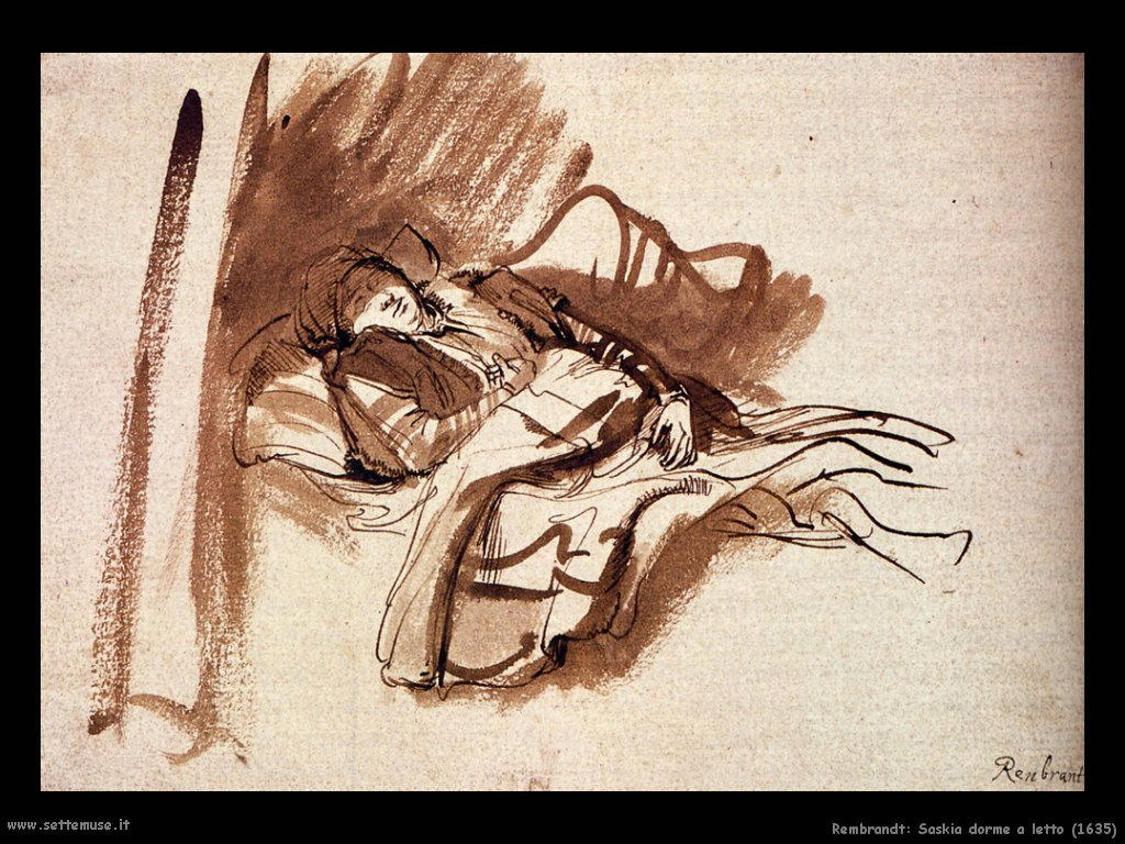 Rembrandt_saskia_dorme_a_letto_1635