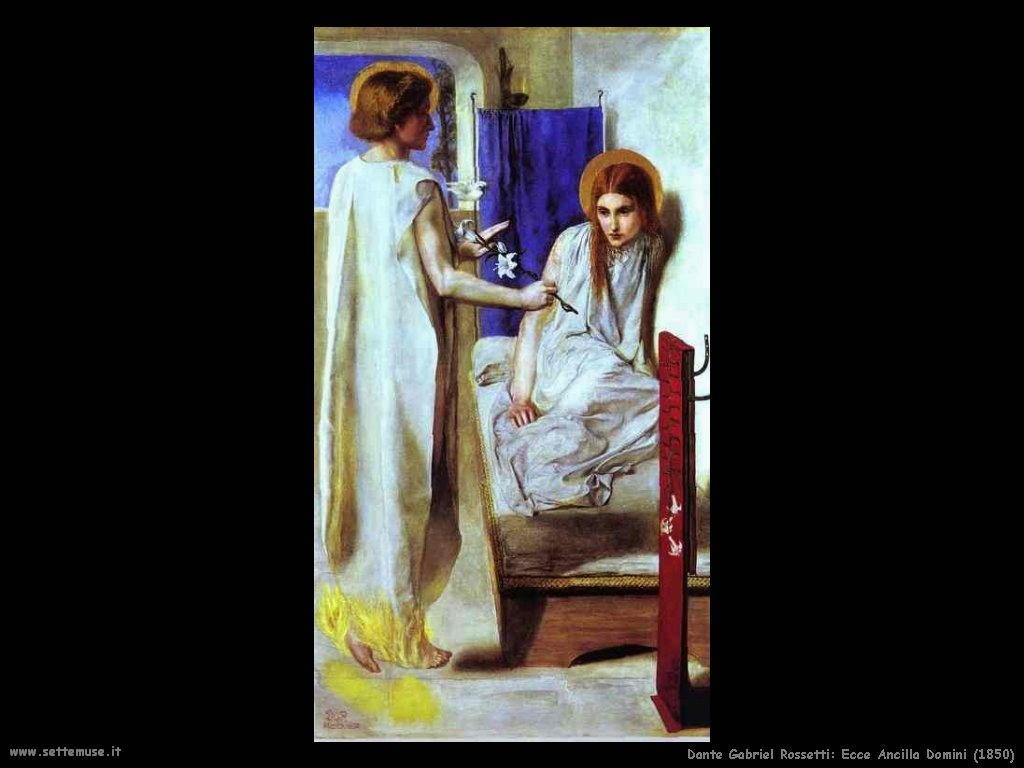 Gabriel Rossetti Ecce ancilla domini (1850)