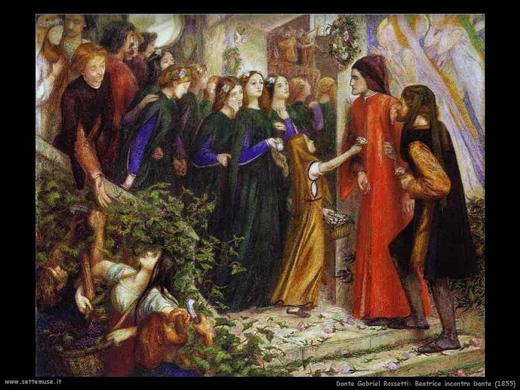 Gabriel Rossetti_Beatrice incontra Dante (1855)