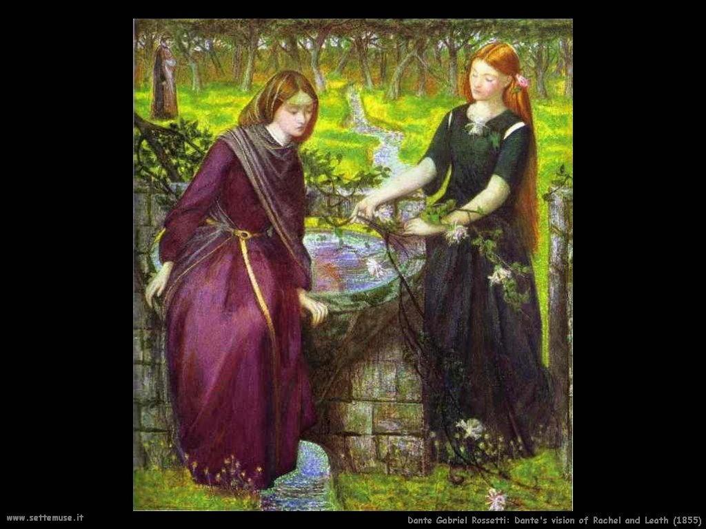 Dante Gabriel Rossetti Visione di Dante di Rachele e Leath (1855)