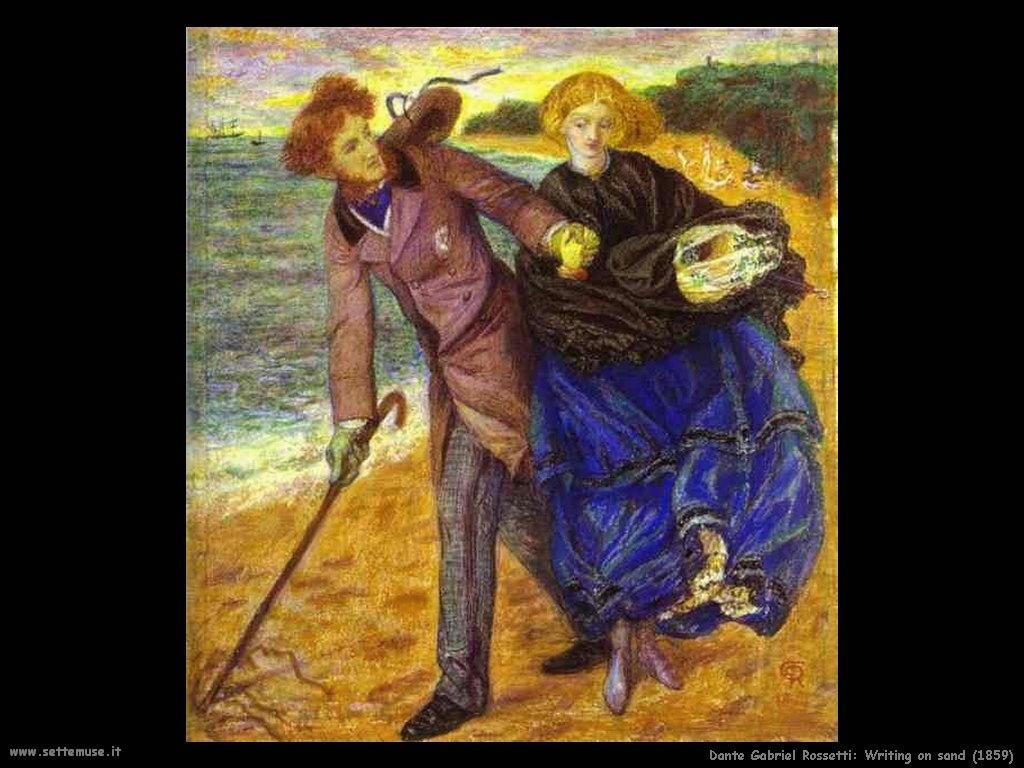 Dante Gabriel Rossetti_writing_on_sand_1859