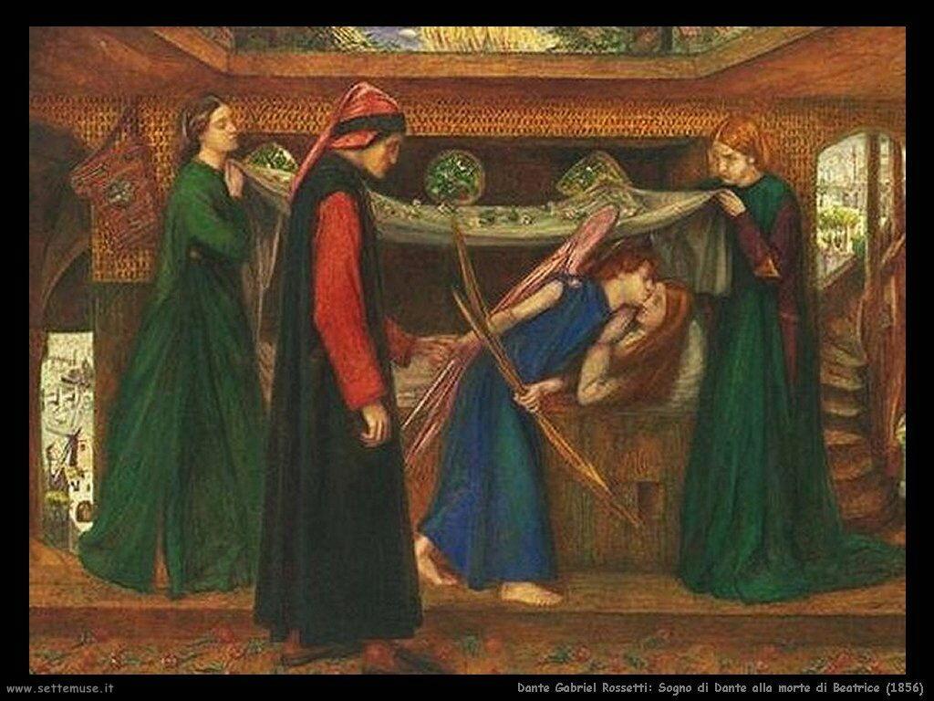 dante_gabriel_rossetti_dante_Sogno di Dante alla morte di Beatrice (1856)