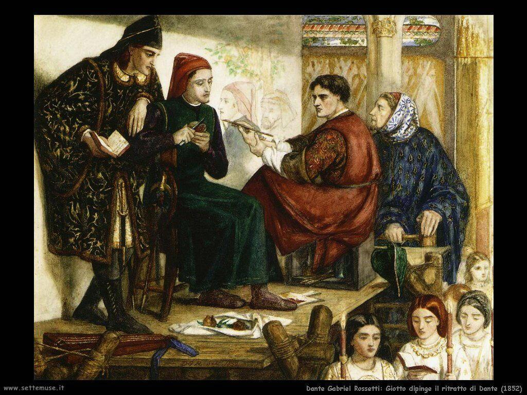 dante_gabriel_rossetti giotto_Giotto dipinge il ritratto di Dante (1852)