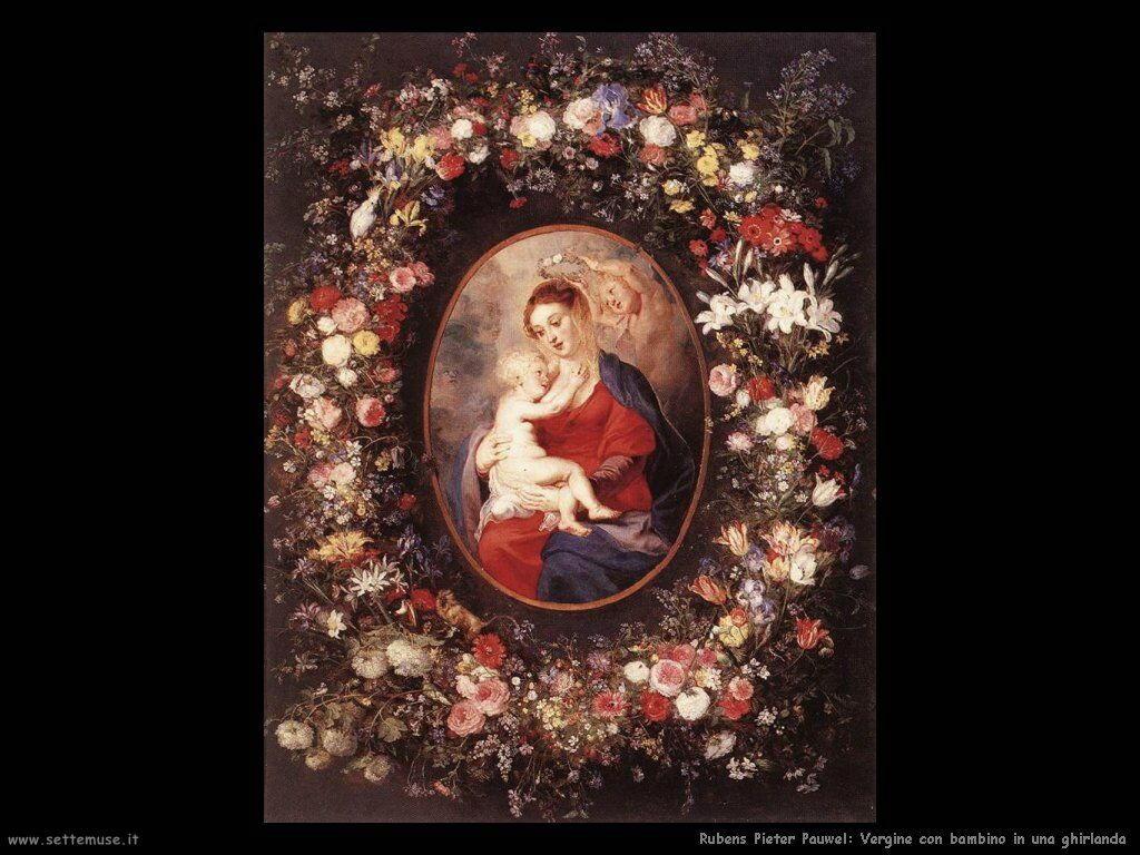 Vergine con bambino in una ghirlanda