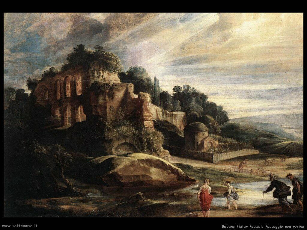 Paesaggio con rovine