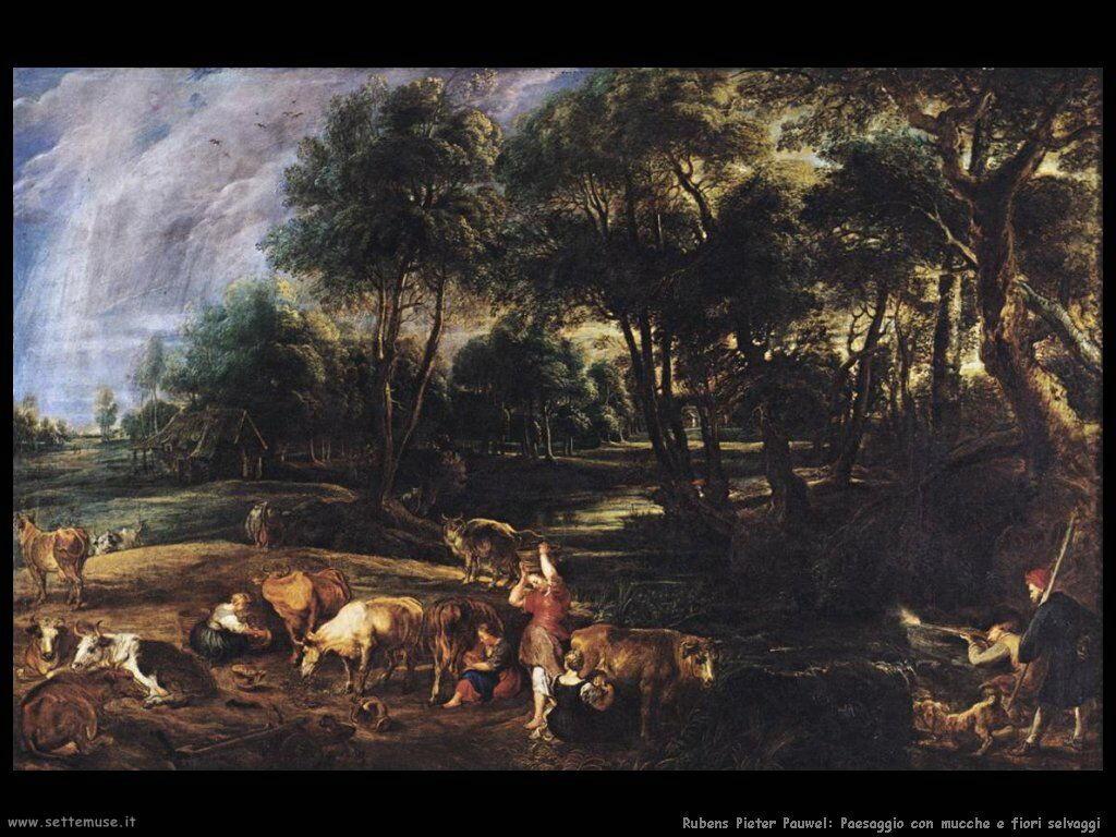 Paesaggio con mucche e fiori selvatici