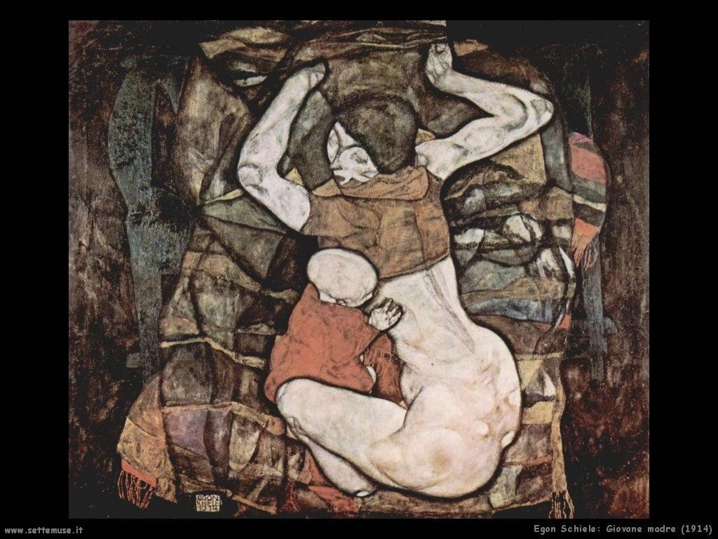egon schiele giovane_madre_1914