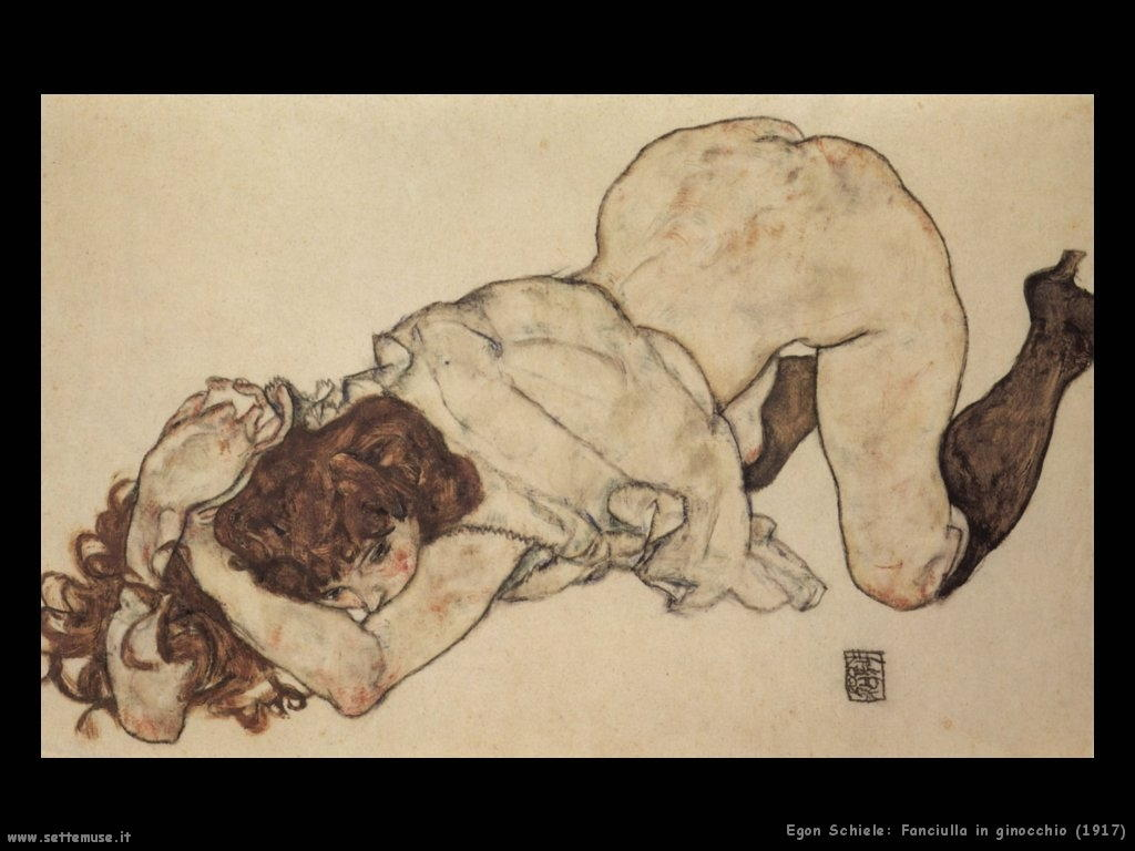 Schiele- Fanciulla in Ginocchio